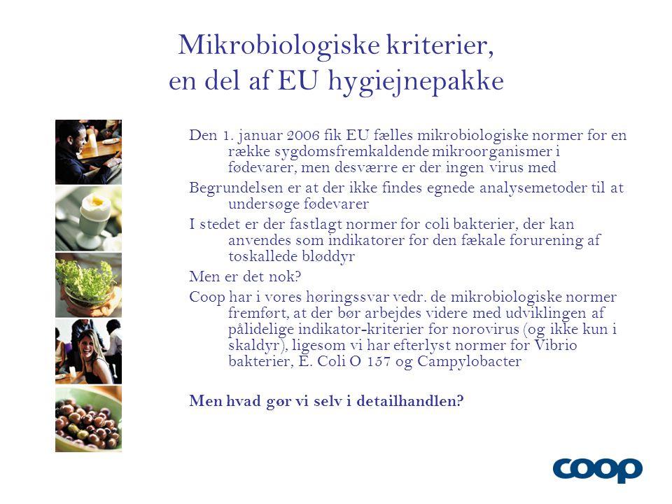 Mikrobiologiske kriterier, en del af EU hygiejnepakke