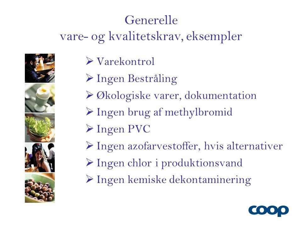Generelle vare- og kvalitetskrav, eksempler