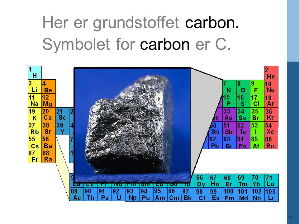 Her er grundstoffet carbon.