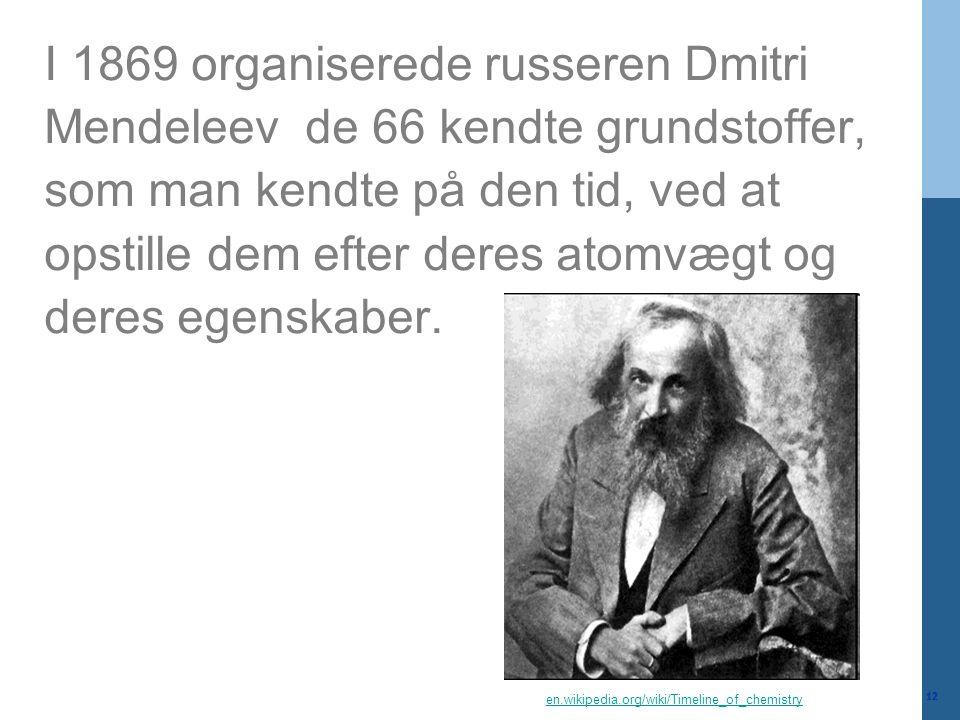 I 1869 organiserede russeren Dmitri Mendeleev de 66 kendte grundstoffer, som man kendte på den tid, ved at opstille dem efter deres atomvægt og deres egenskaber.