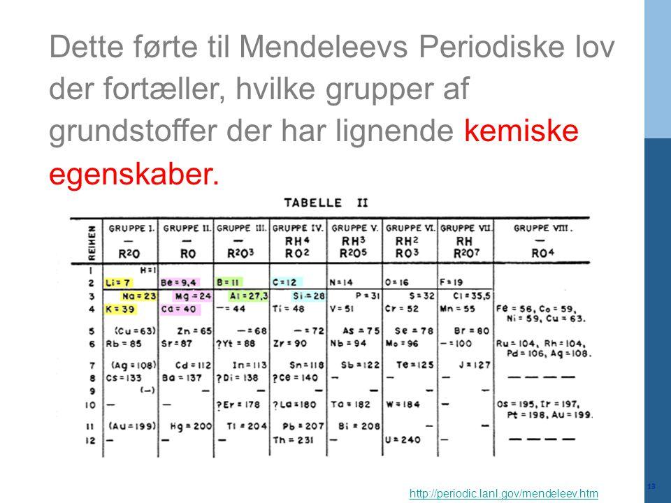 Dette førte til Mendeleevs Periodiske lov der fortæller, hvilke grupper af grundstoffer der har lignende kemiske egenskaber.