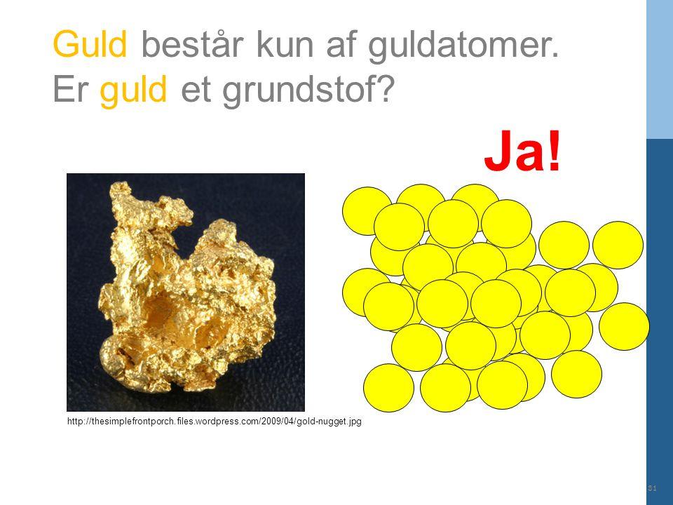 Ja! Guld består kun af guldatomer. Er guld et grundstof