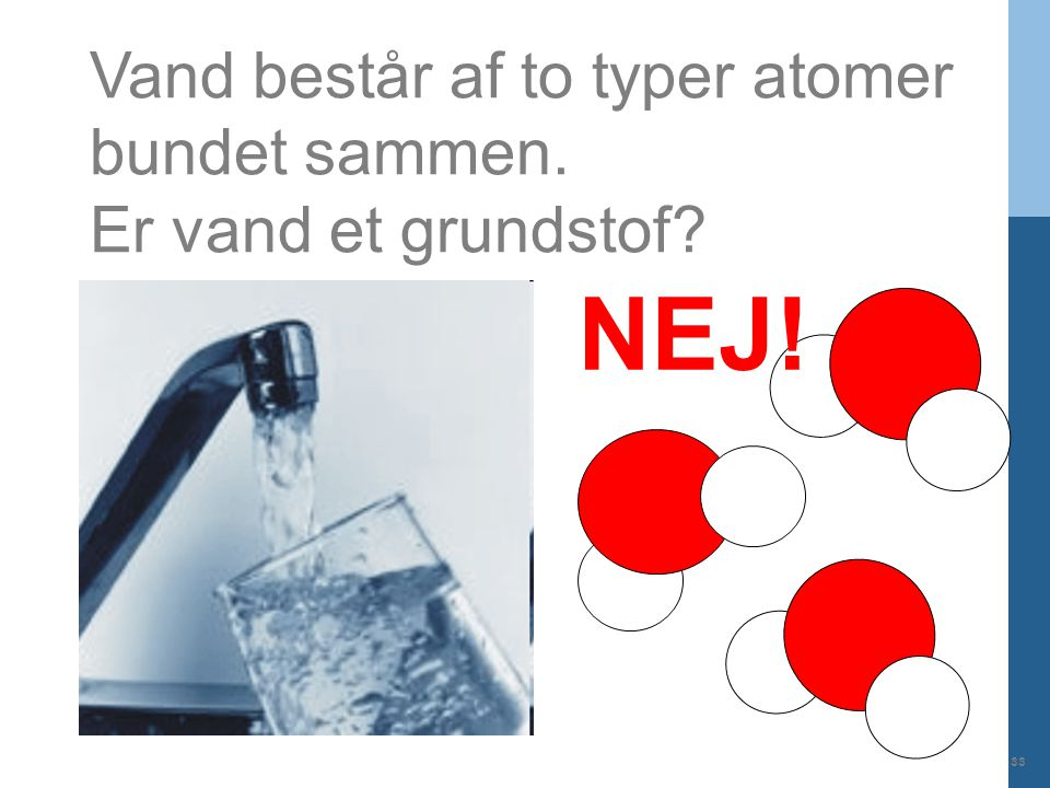 NEJ! Vand består af to typer atomer bundet sammen.