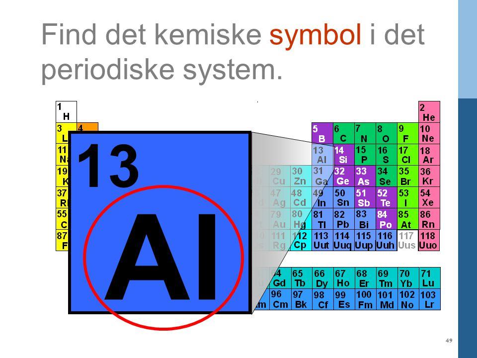 Al 13 Find det kemiske symbol i det periodiske system.