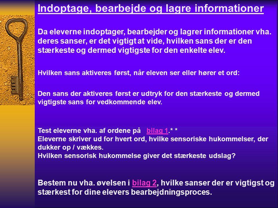 Indoptage, bearbejde og lagre informationer