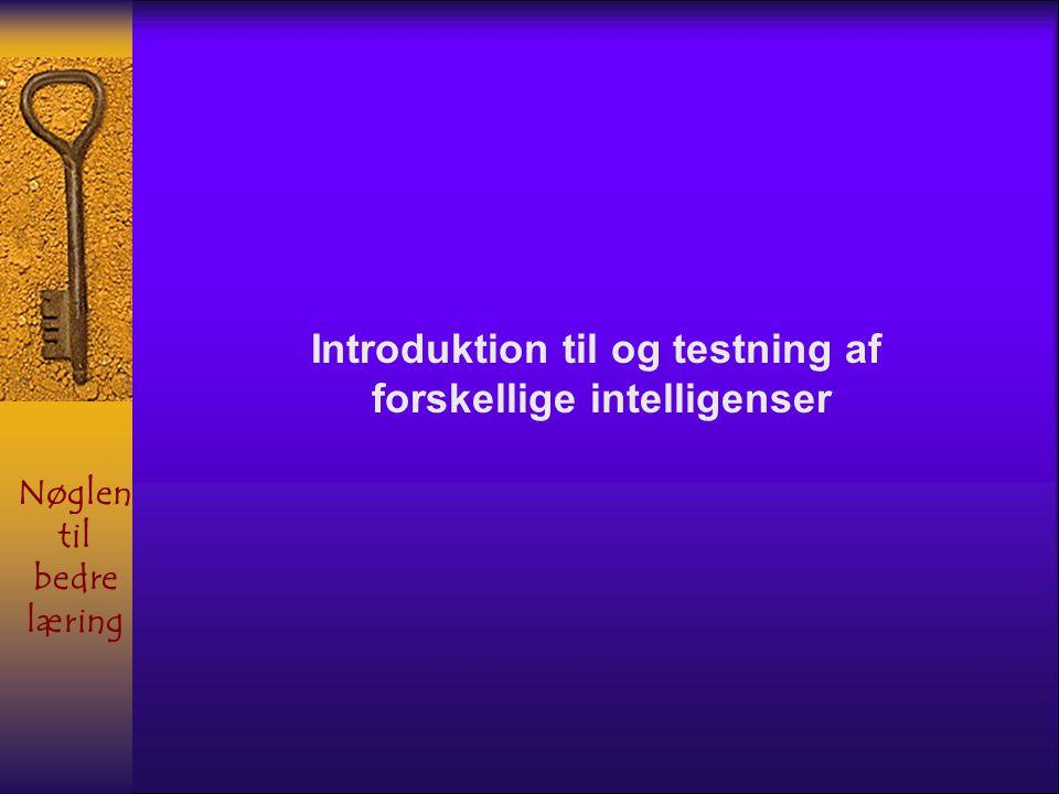 Introduktion til og testning af forskellige intelligenser