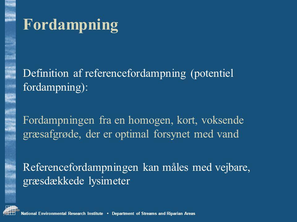 Fordampning Definition af referencefordampning (potentiel fordampning):