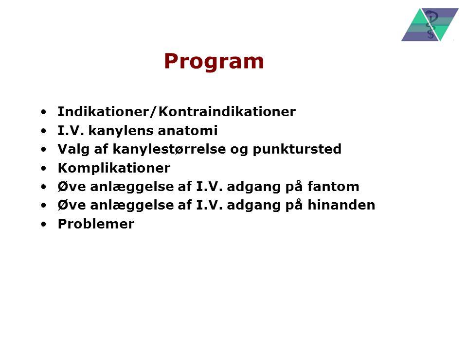 Program Indikationer/Kontraindikationer I.V. kanylens anatomi