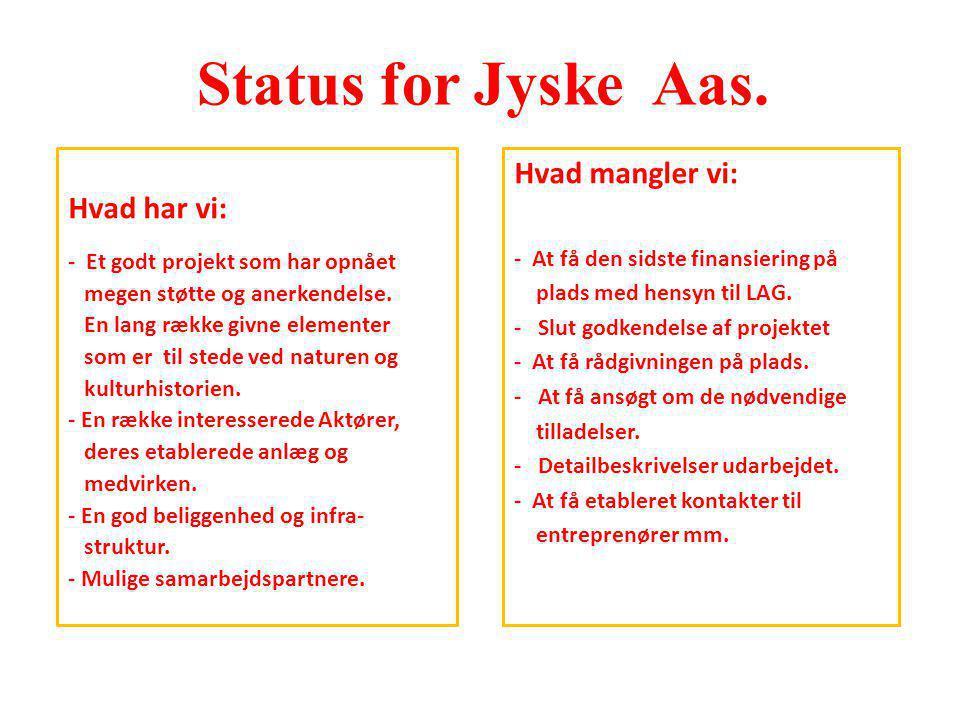 Status for Jyske Aas. Hvad mangler vi: Hvad har vi: