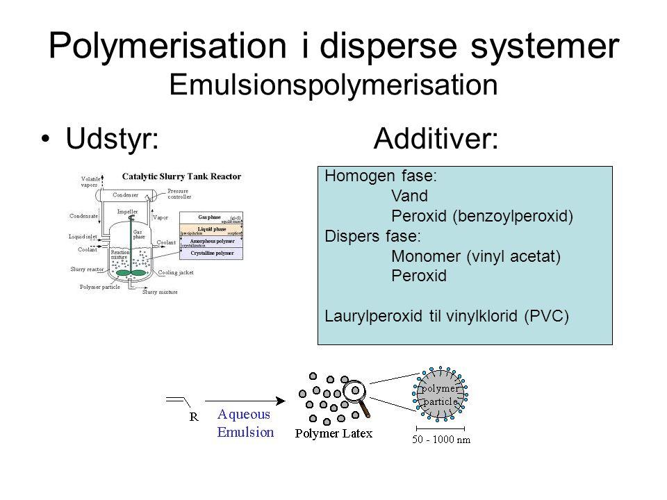 Polymerisation i disperse systemer Emulsionspolymerisation