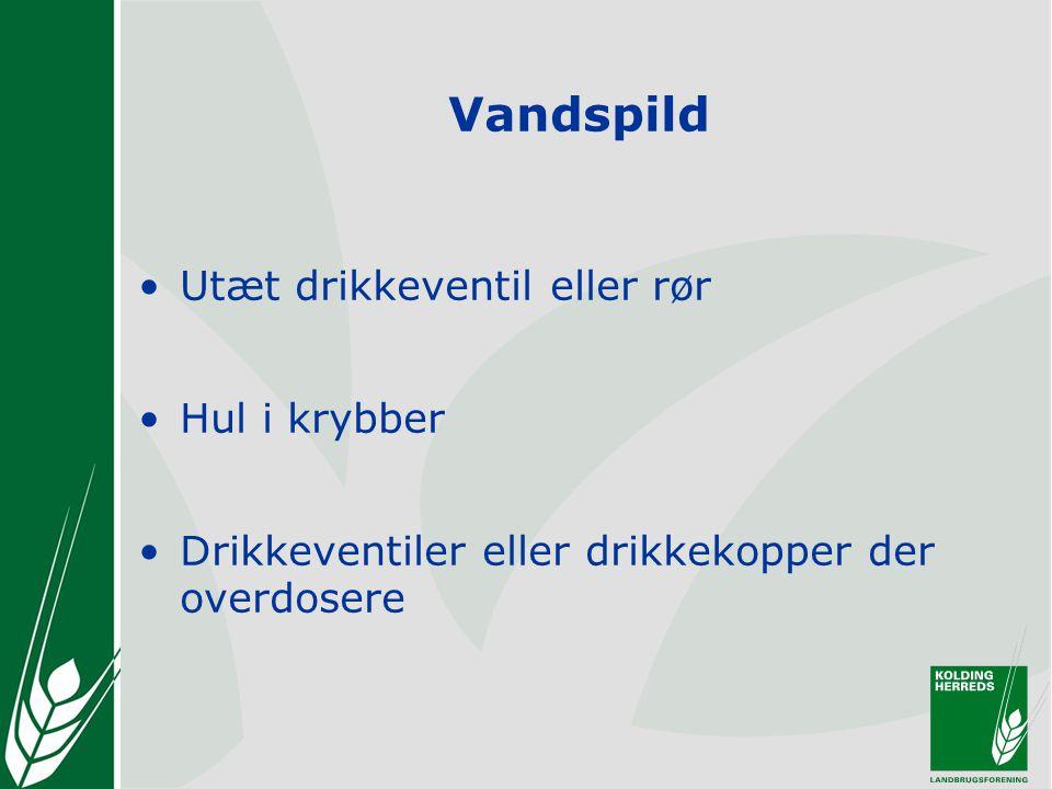 Vandspild Utæt drikkeventil eller rør Hul i krybber