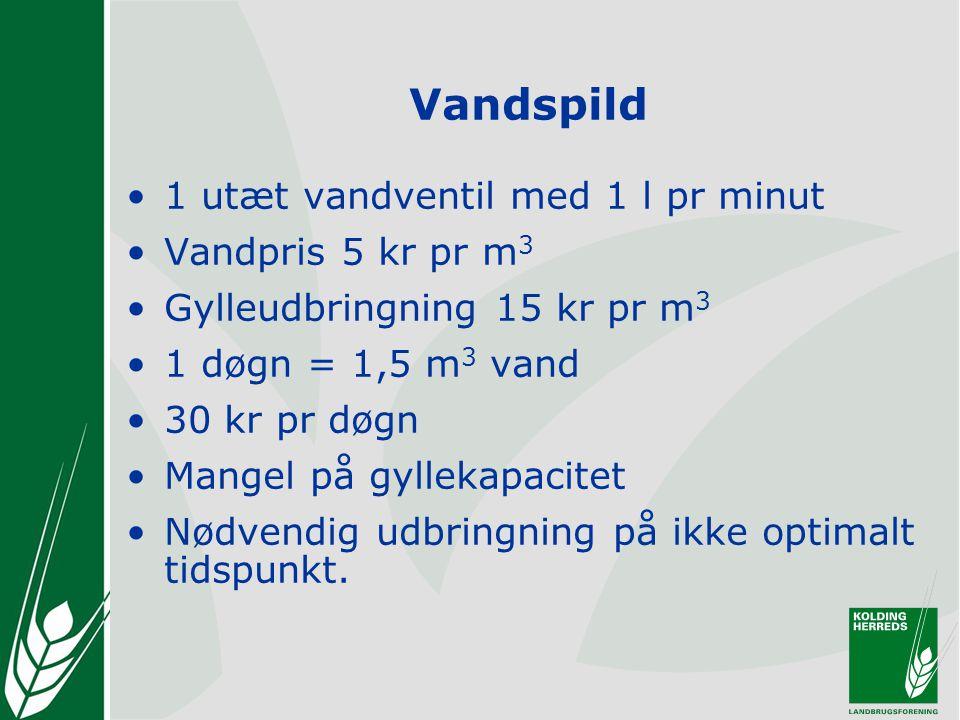Vandspild 1 utæt vandventil med 1 l pr minut Vandpris 5 kr pr m3
