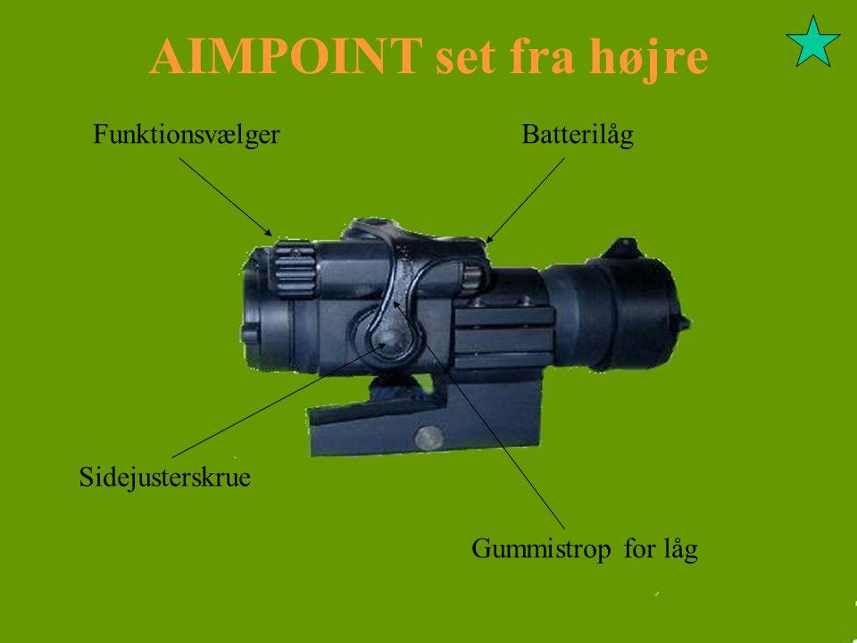 AIMPOINT set fra højre Funktionsvælger Batterilåg Sidejusterskrue