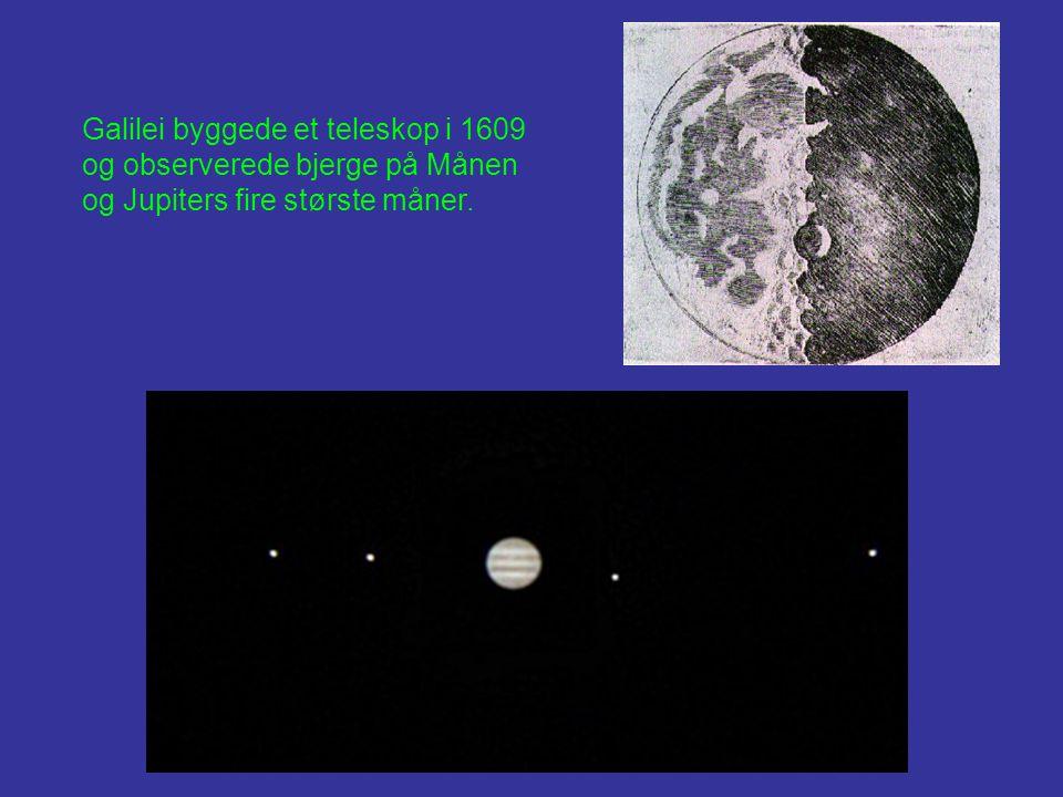 Galilei byggede et teleskop i 1609 og observerede bjerge på Månen