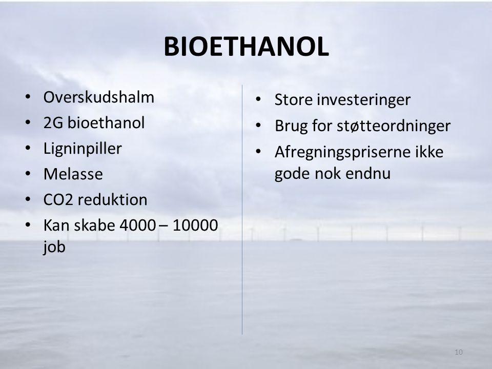 BIOETHANOL Overskudshalm Store investeringer 2G bioethanol