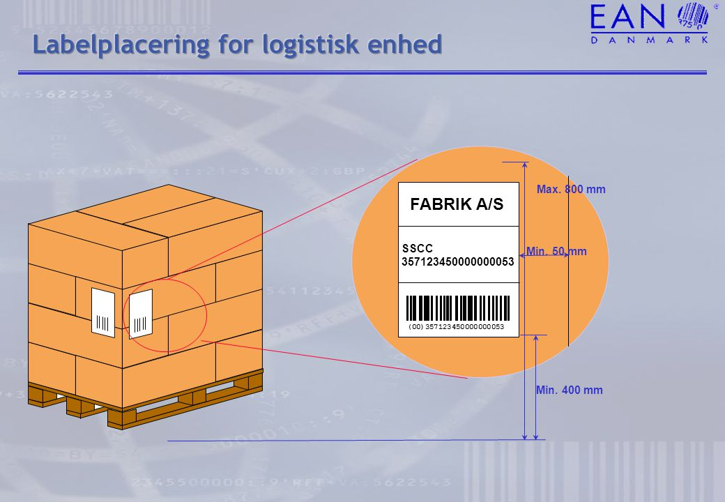 Labelplacering for logistisk enhed