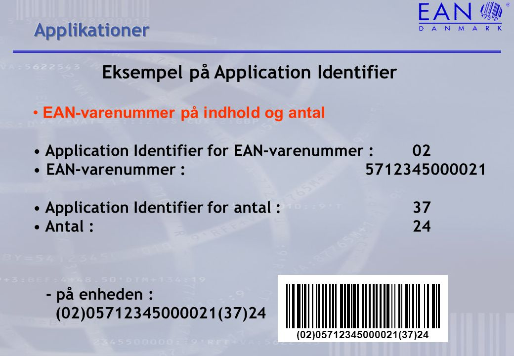 Eksempel på Application Identifier