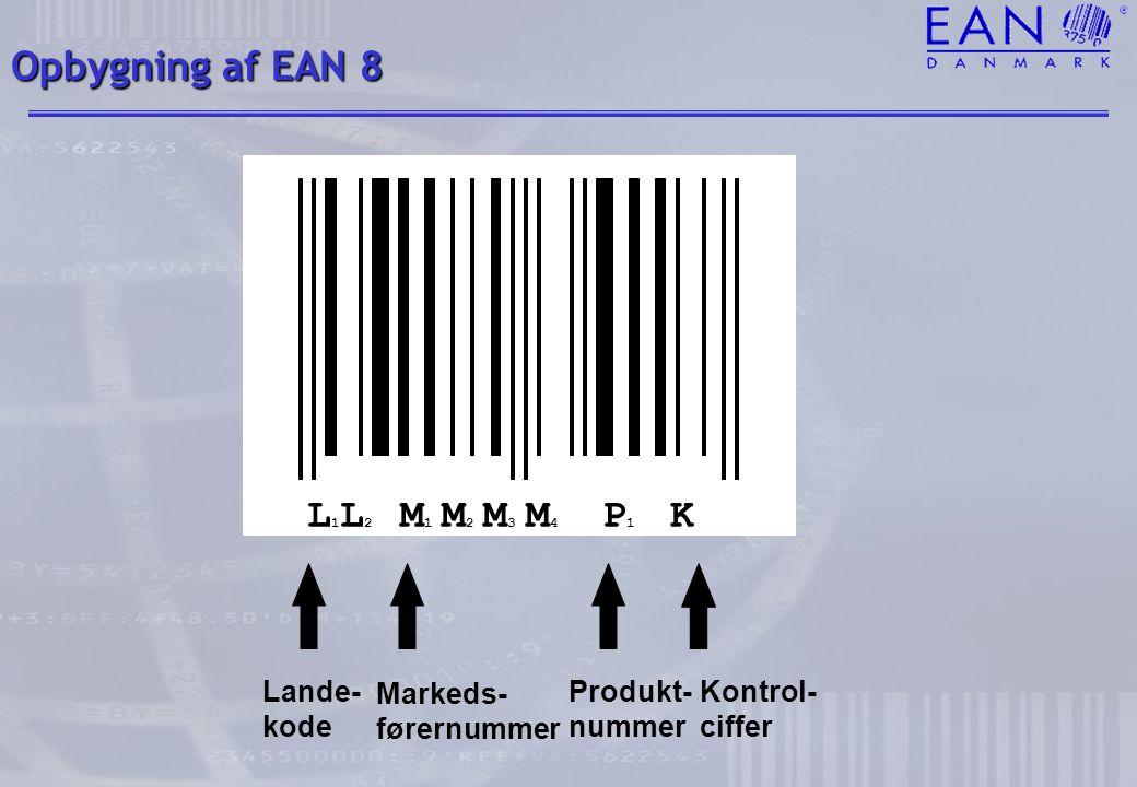 Opbygning af EAN 8 L1L2 M1 M2 M3 M4 P1 K Lande- kode Markeds-