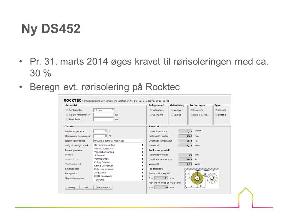 Ny DS452 Pr. 31. marts 2014 øges kravet til rørisoleringen med ca.