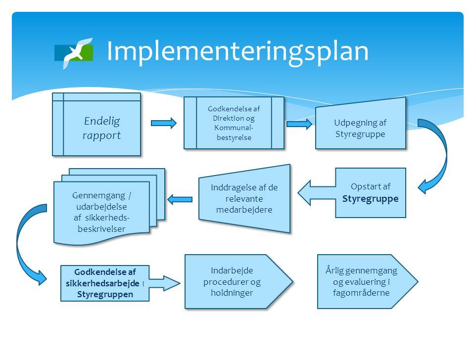 Implementeringsplan Endelig rapport Gennemgang / udarbejdelse