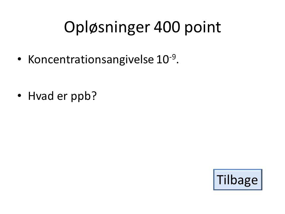 Opløsninger 400 point Tilbage Koncentrationsangivelse 10-9.