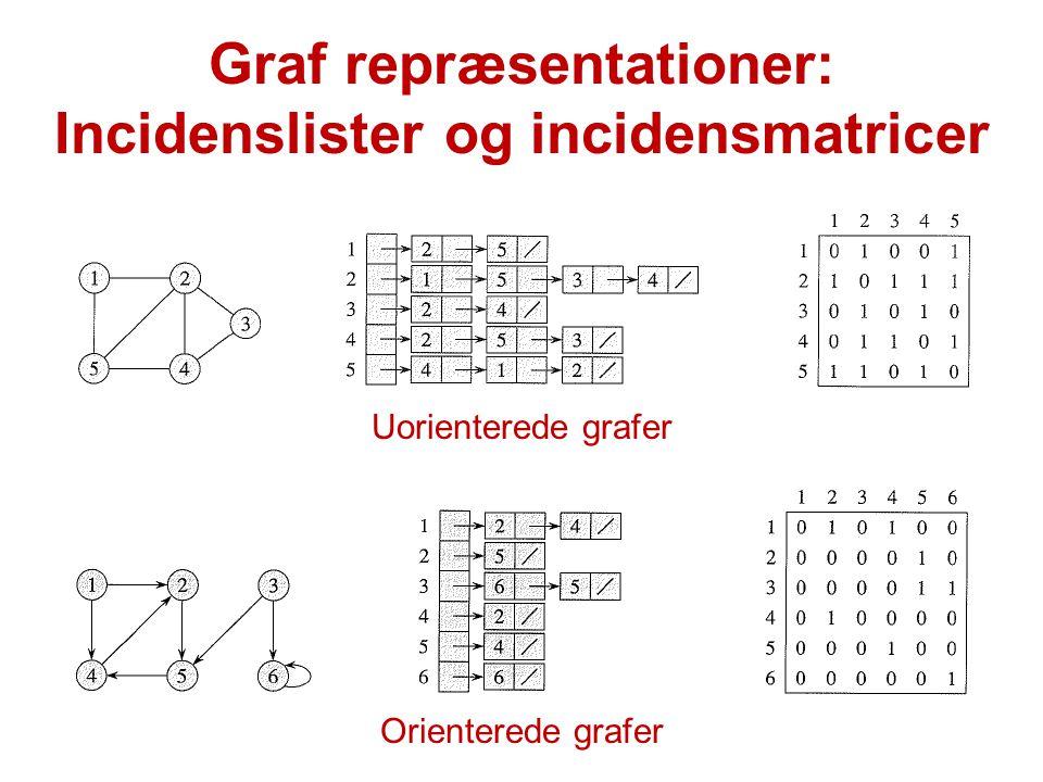 Graf repræsentationer: Incidenslister og incidensmatricer