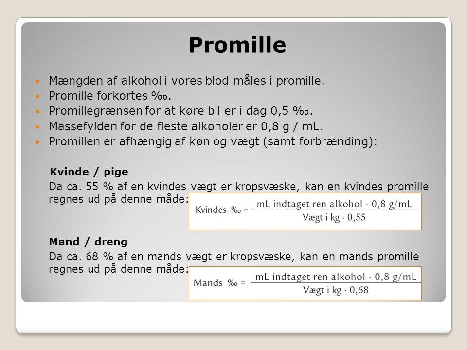Promille Mængden af alkohol i vores blod måles i promille.