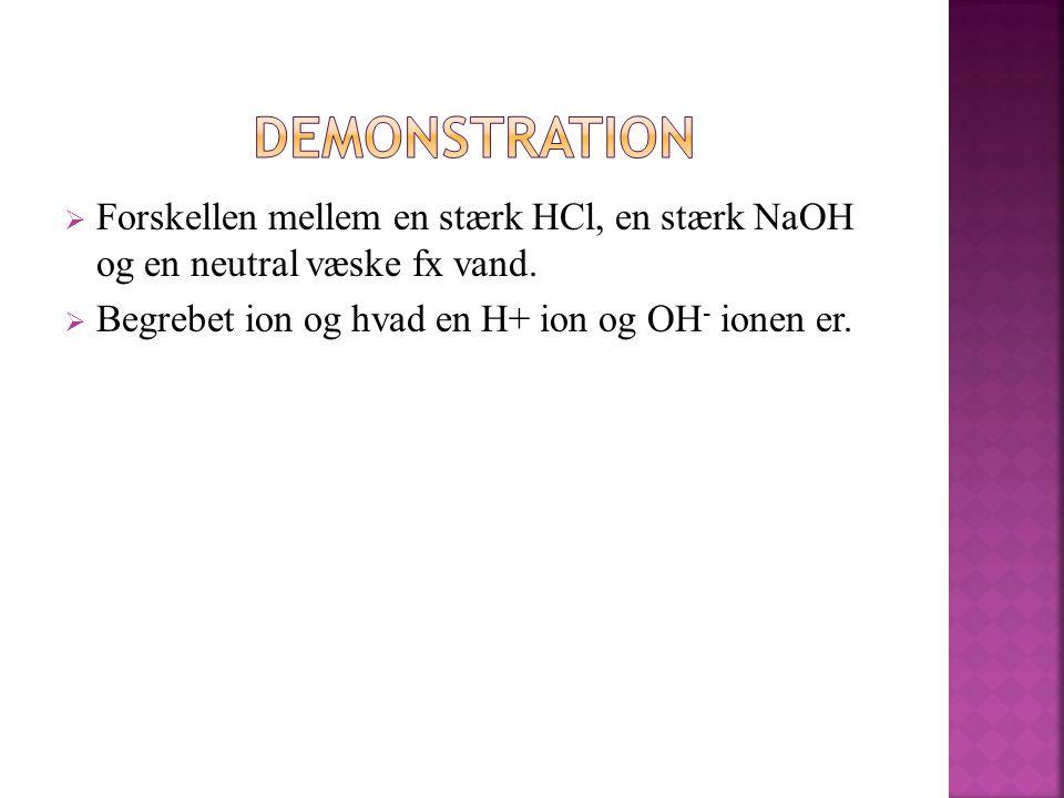 Demonstration Forskellen mellem en stærk HCl, en stærk NaOH og en neutral væske fx vand.