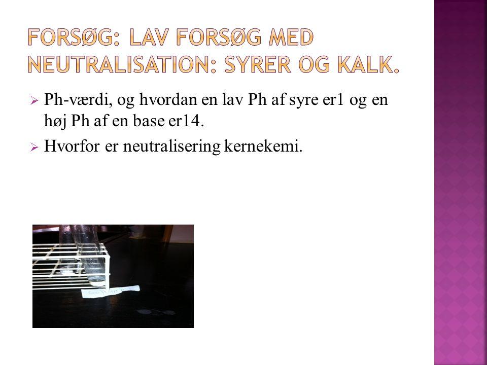 FORSØG: Lav forsøg med neutralisation: syrer og kalk.