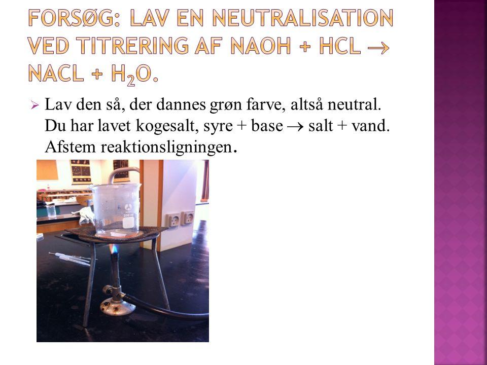 FORSØG: Lav en neutralisation ved titrering af NaOH + HCL  NaCL + H2O.