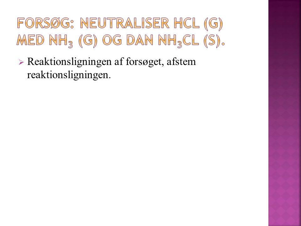 FORSØG: Neutraliser HCl (g) med NH3 (g) og dan NH3Cl (s).
