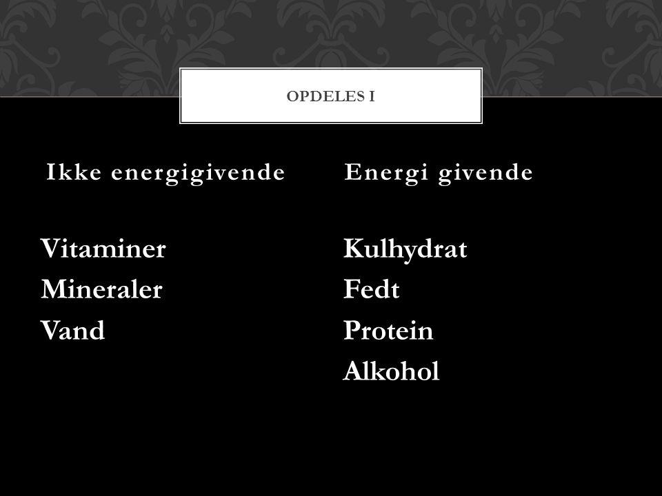 Vitaminer Mineraler Vand Kulhydrat Fedt Protein Alkohol