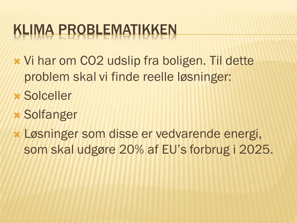 Klima problematikken Vi har om CO2 udslip fra boligen. Til dette problem skal vi finde reelle løsninger: