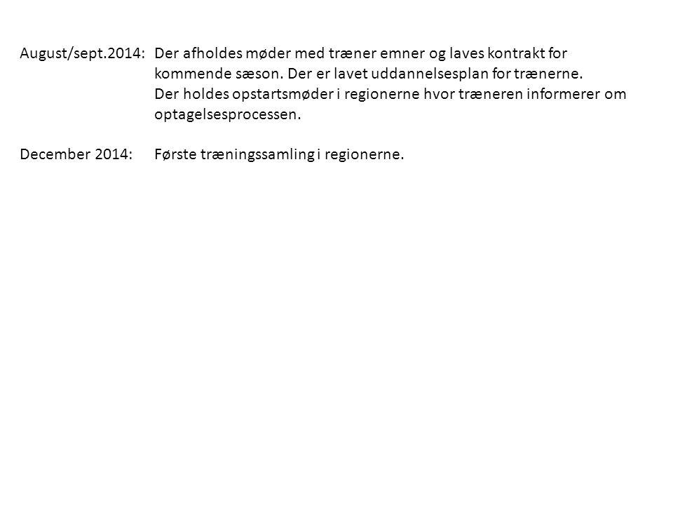 August/sept.2014: Der afholdes møder med træner emner og laves kontrakt for kommende sæson. Der er lavet uddannelsesplan for trænerne.