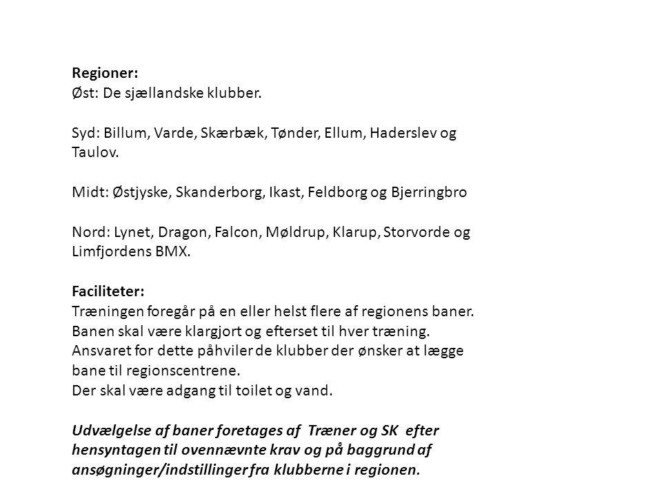Regioner: Øst: De sjællandske klubber. Syd: Billum, Varde, Skærbæk, Tønder, Ellum, Haderslev og Taulov.