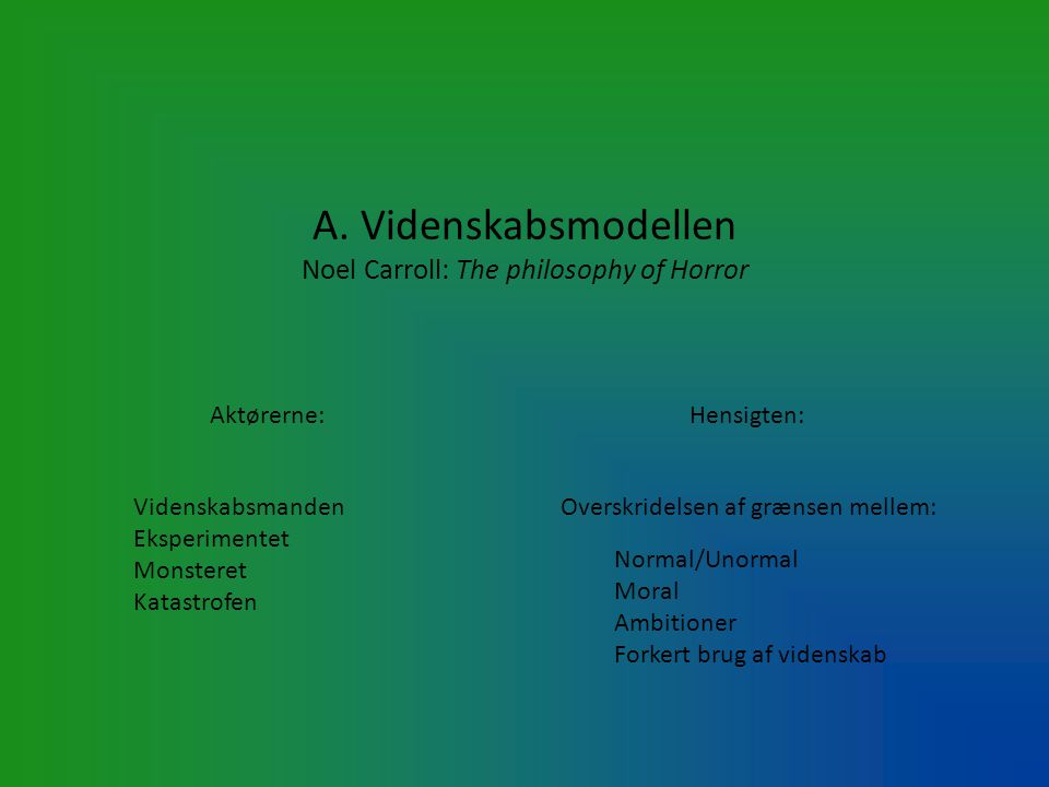 A. Videnskabsmodellen Noel Carroll: The philosophy of Horror