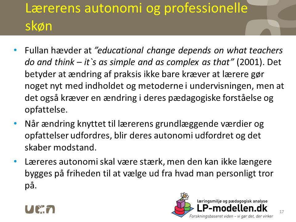 Lærerens autonomi og professionelle skøn