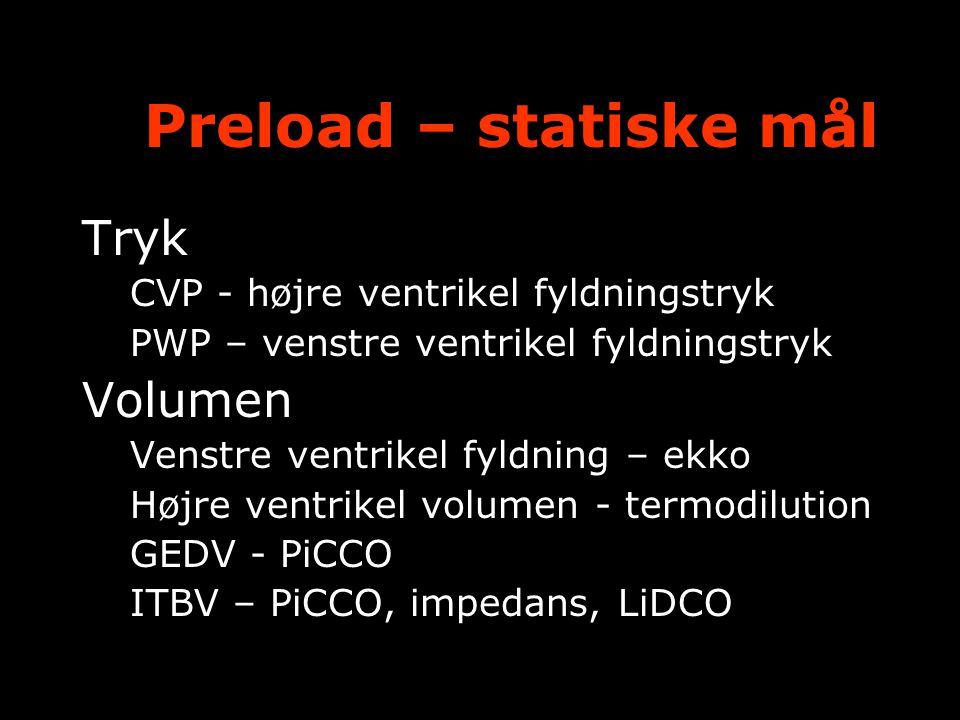 Preload – statiske mål Tryk Volumen