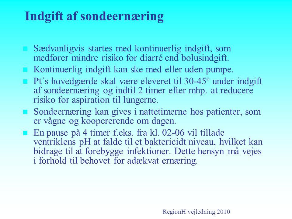 Indgift af sondeernæring