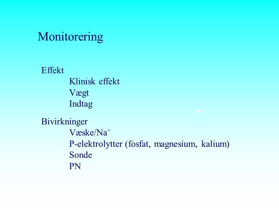 Monitorering Effekt Klinisk effekt Vægt Indtag Bivirkninger Væske/Na+