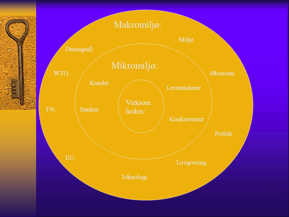 Makromiljø: Mikromiljø: Virksomheden: Miljø Demografi WTO. Økonomi