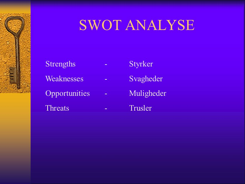 SWOT ANALYSE Strengths - Styrker Weaknesses - Svagheder