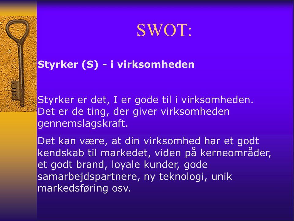 SWOT: Styrker (S) - i virksomheden