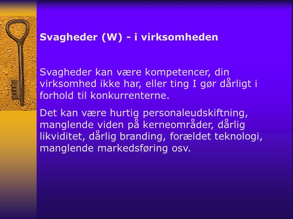 Svagheder (W) - i virksomheden