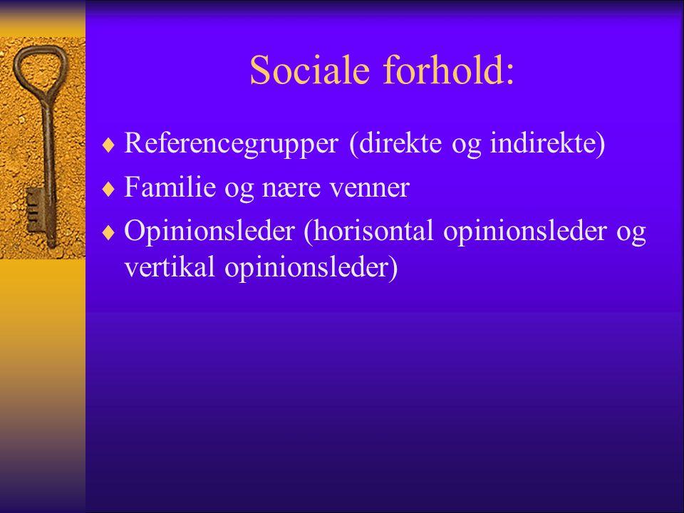 Sociale forhold: Referencegrupper (direkte og indirekte)