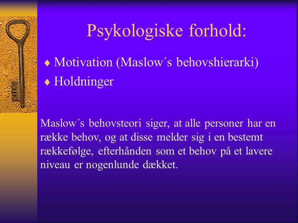 Psykologiske forhold: