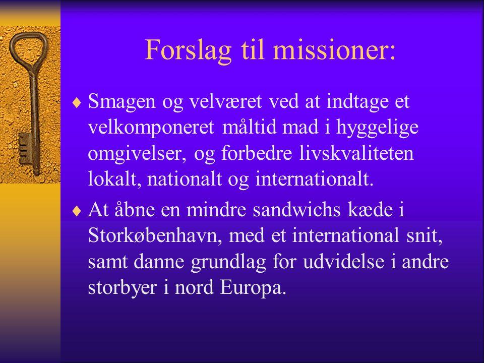 Forslag til missioner: