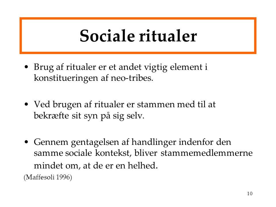 Sociale ritualer Brug af ritualer er et andet vigtig element i konstitueringen af neo-tribes.