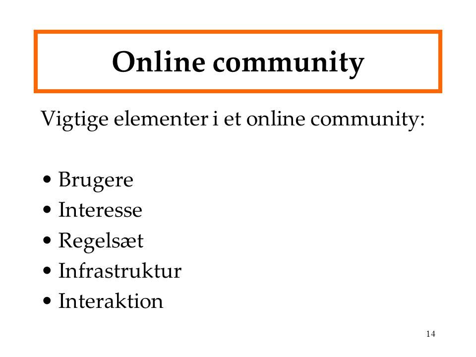 Online community Vigtige elementer i et online community: Brugere