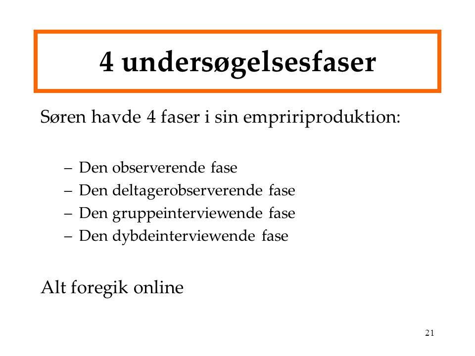 4 undersøgelsesfaser Søren havde 4 faser i sin empririproduktion: